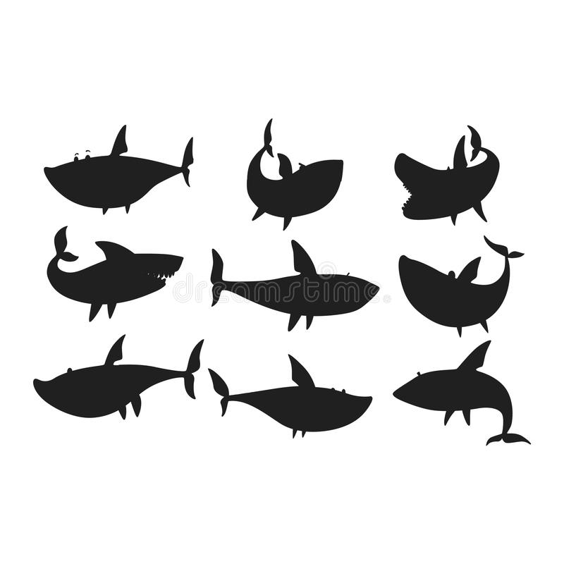 Vector shark character set. Vector illustration toothy white swimming angry shark. Animal sea isolated shark character underwater cute marine wildlife mascot stock illustration