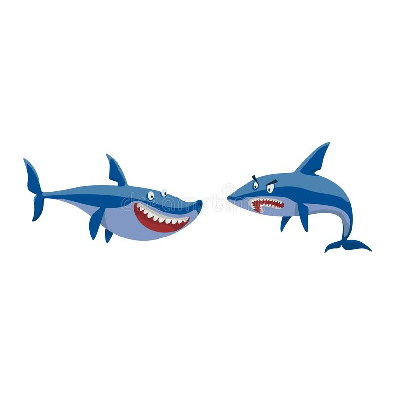Vector shark character set. Vector illustration toothy white swimming angry shark. Animal sea shark character underwater cute marine wildlife mascot. Scary stock illustration