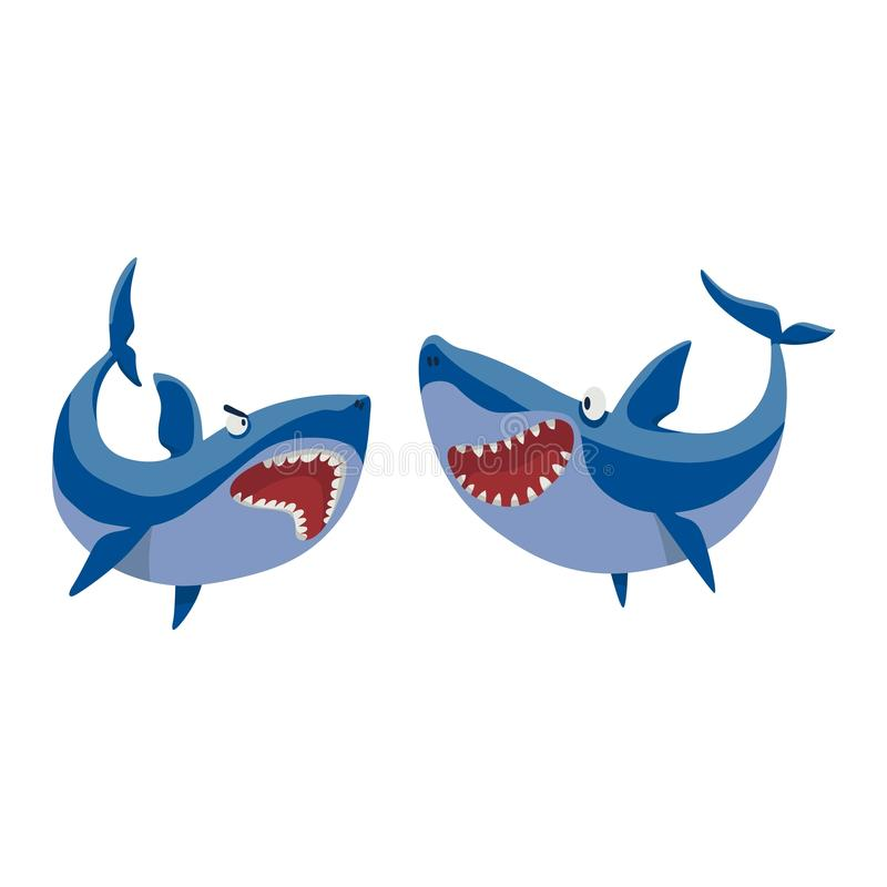 Vector shark character set. Vector illustration toothy white swimming angry shark. Animal sea shark character underwater cute marine wildlife mascot. Scary royalty free illustration