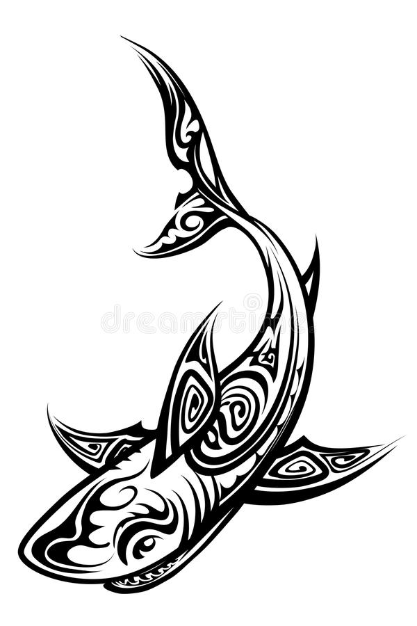 vector shark polynesian tattoo stock vector illustration of design fish 43620298. Black Bedroom Furniture Sets. Home Design Ideas