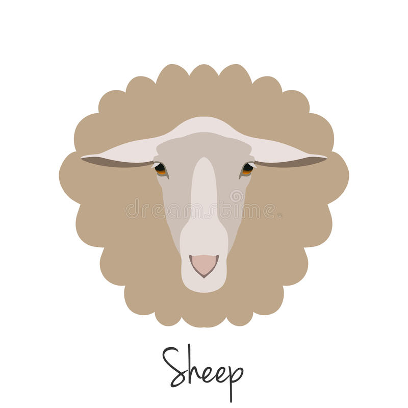 Vector sheep head isolated. Flat, cartoon style object. Vector Sheep head isolated. Flat style, cartoon object. poster banner print advertising, design element royalty free illustration