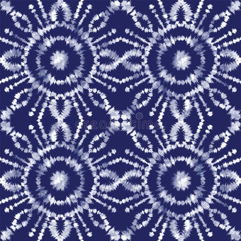 Vector shibori japanese indigo motifs seamless pattern background vector illustration