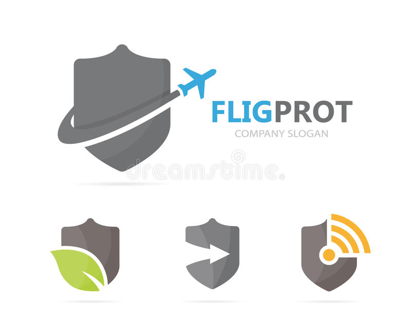 Vector of shield and airplane logo combination. Security and travel symbol or icon. Unique protect and flight logotype royalty free illustration