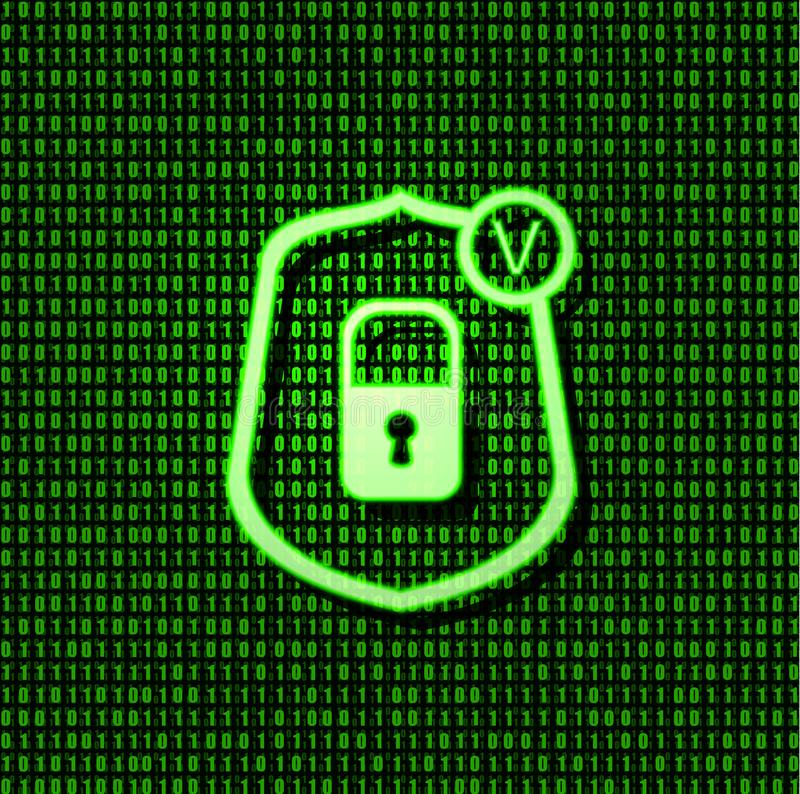 Vector Shield Security Lock Icon, Bright Green Glowing Sign on Binary Code Background. Vector Shield Security Lock Icon, Bright Green Glowing Correct Sign on stock images