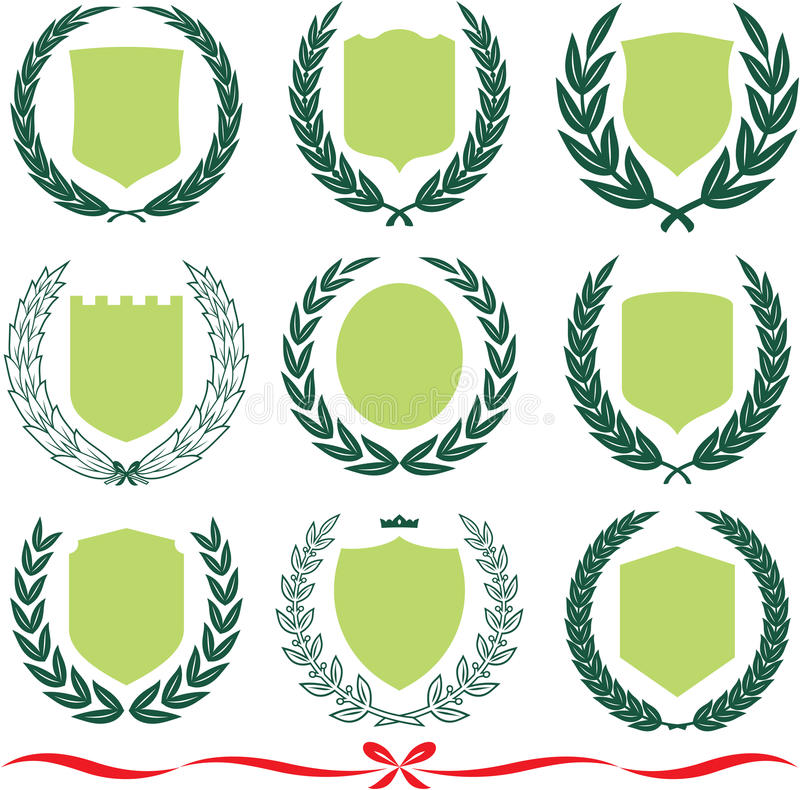 Download Vector Shields And Laurel Wreaths Set Royalty Free Stock Photo - Image: 13623675