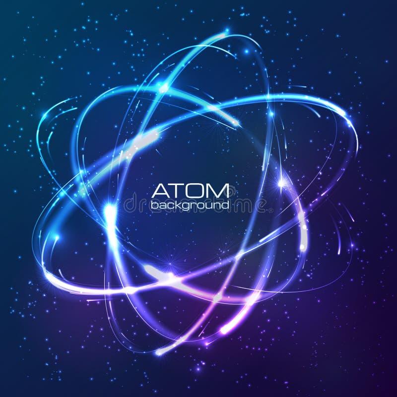 Vector shining neon lights atom model. Vector shining blue neon lights atom model stock illustration