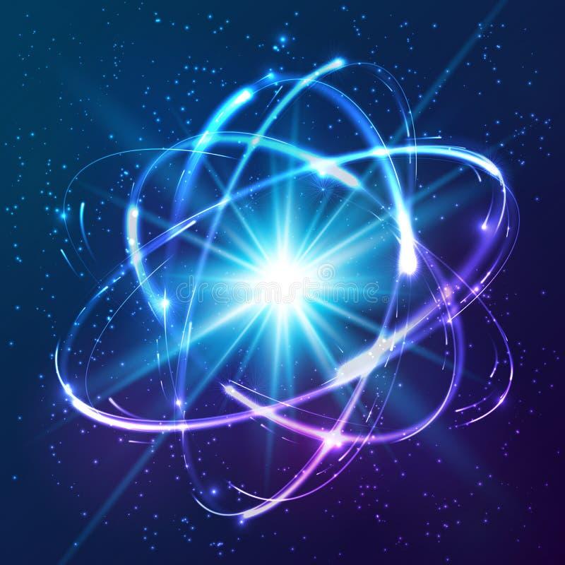Vector shining neon lights atom model. Vector shining neon lights cosmic atom model royalty free illustration