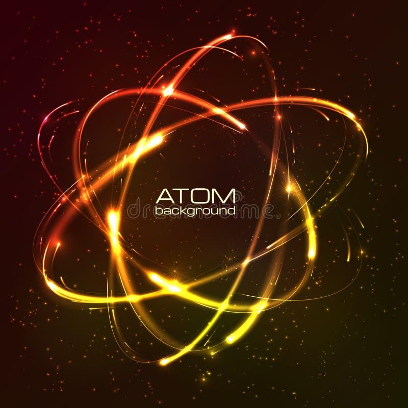 Vector shining neon lights atom model. Vector shining orange neon lights atom model stock illustration