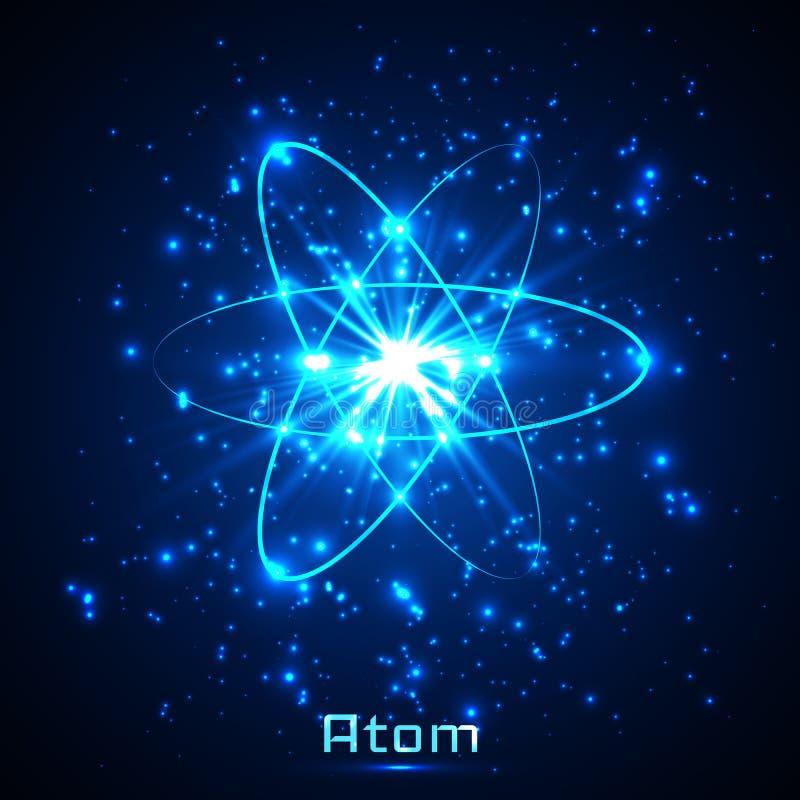Vector shining neon lights atom model.  stock illustration