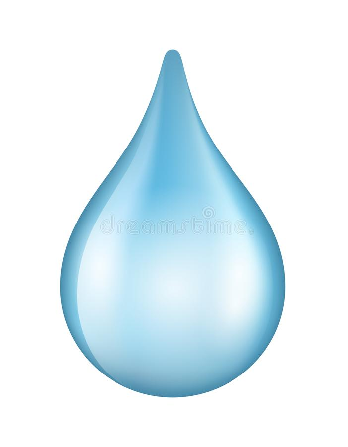 Vector shiny blue water drop icon isolated on white background.  vector illustration
