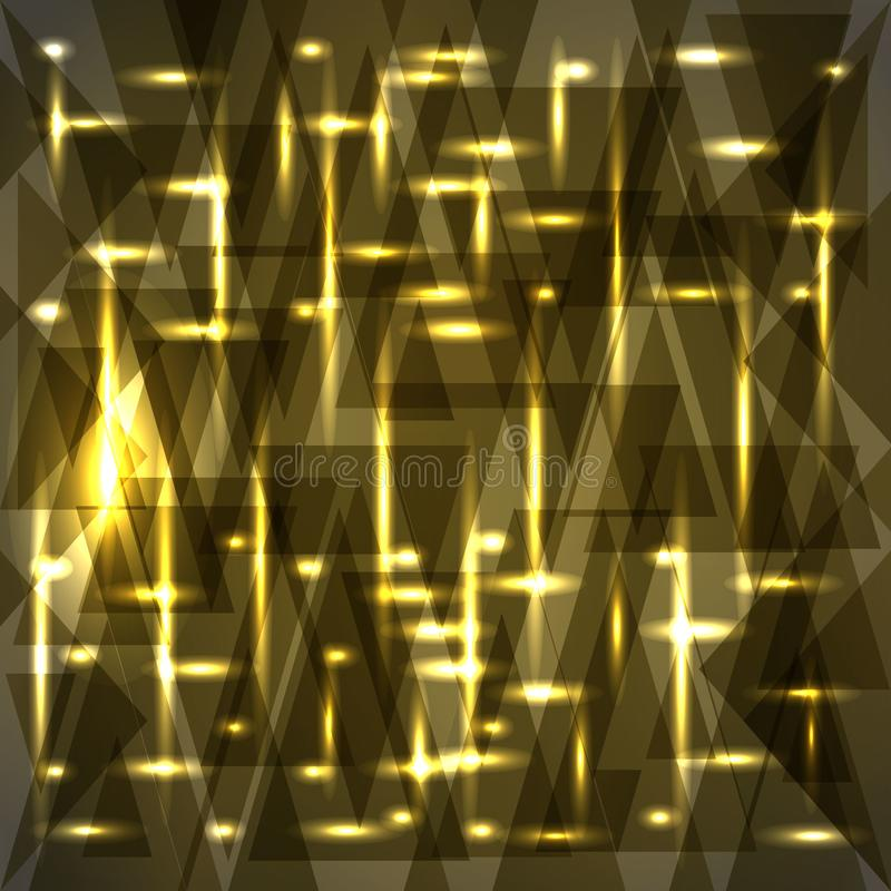 Vector shiny bronze color pattern of shards and stripes. For decoration of festive objects, paper and fabric stock illustration