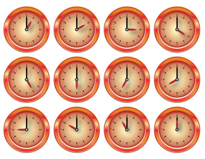 Vector shiny clock red and orange set royalty free illustration