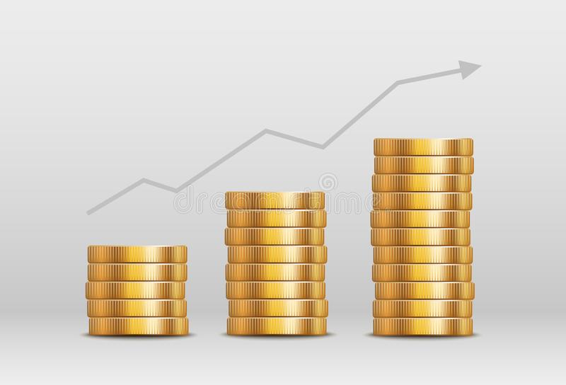 Vector shiny gold coin stacks - currency value or income increase concept royalty free illustration
