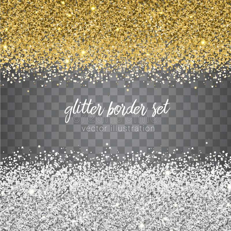 Vector shiny gold and silver glitter border set isolated on tran vector illustration