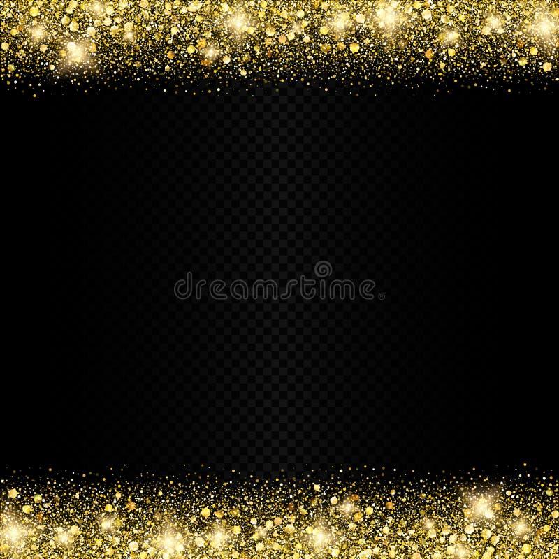 Vector shiny golden glitters border background decoration stock illustration