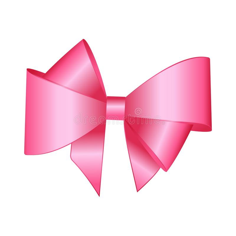 Vector Shiny Pink Satin Gift Bow Close up. Isolated on White Background royalty free illustration