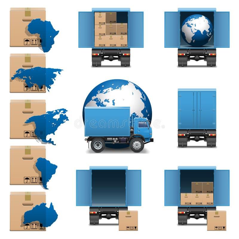 Free Vector Shipment Trucks Icons Set 3 Stock Photography - 36502112
