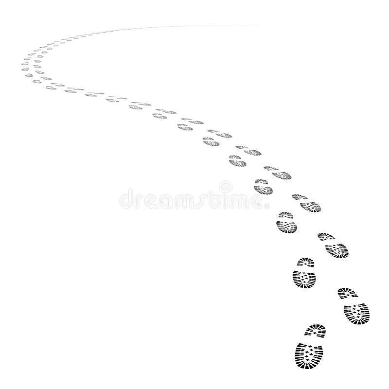 Vector shoe tracks footpath stock illustration