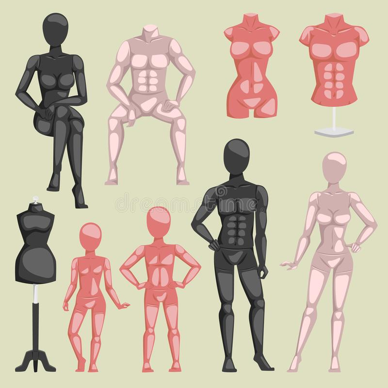 Vector shop beauty mannequin dummy doll model for fashion dress and plastic figure of human body doll illustration set stock illustration