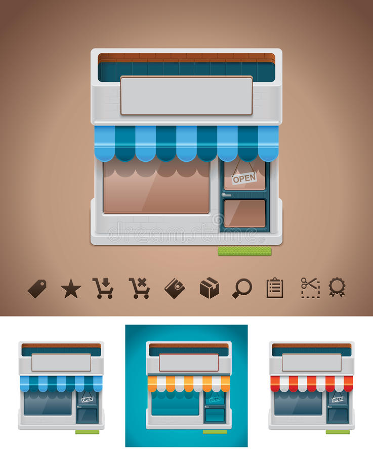 Vector shop icon with related pictograms royalty free illustration