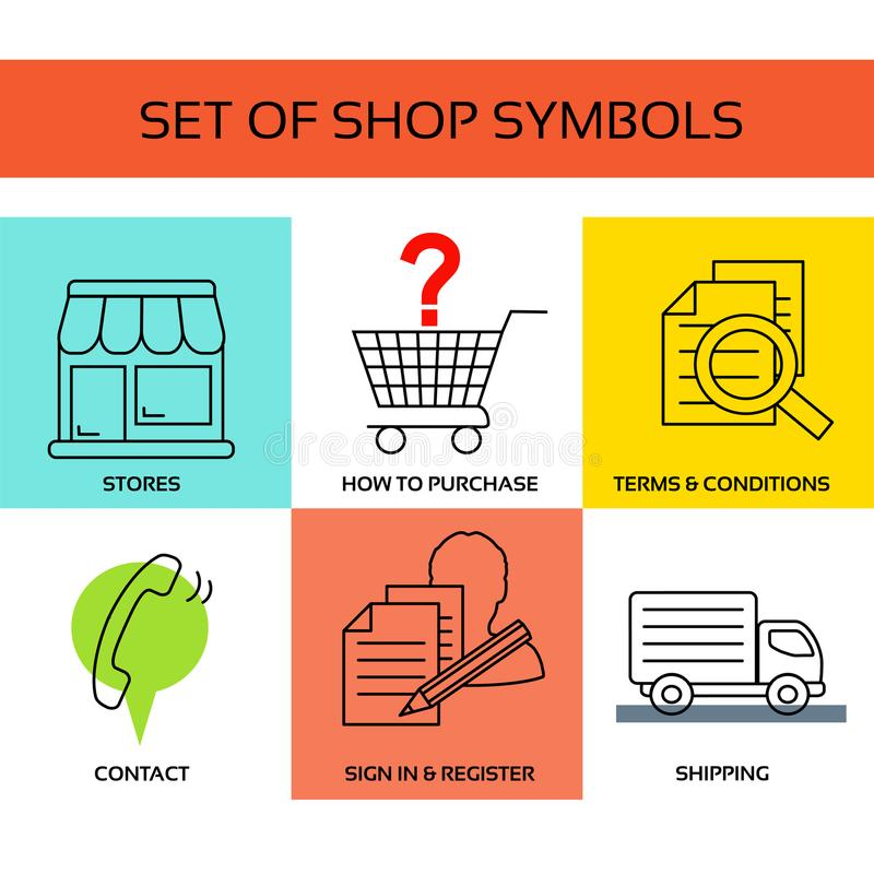 Free Vector Shop Symbols, Navigation - Stores, How To Purchase, Terms And Conditions, Contact Us, Sign In And Register, Shipping Royalty Free Stock Photo - 115649255