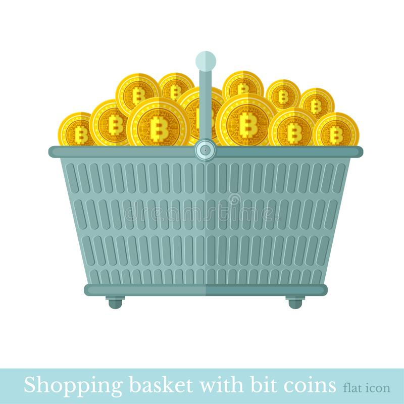 Vector shopping basket with gold bit coins. Flat business icon online buy on white.  royalty free illustration