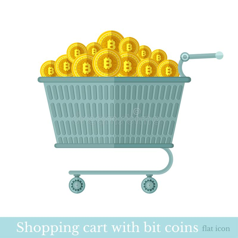 Vector shopping basket with gold bit coins. Flat business icon online buy on white.  stock illustration