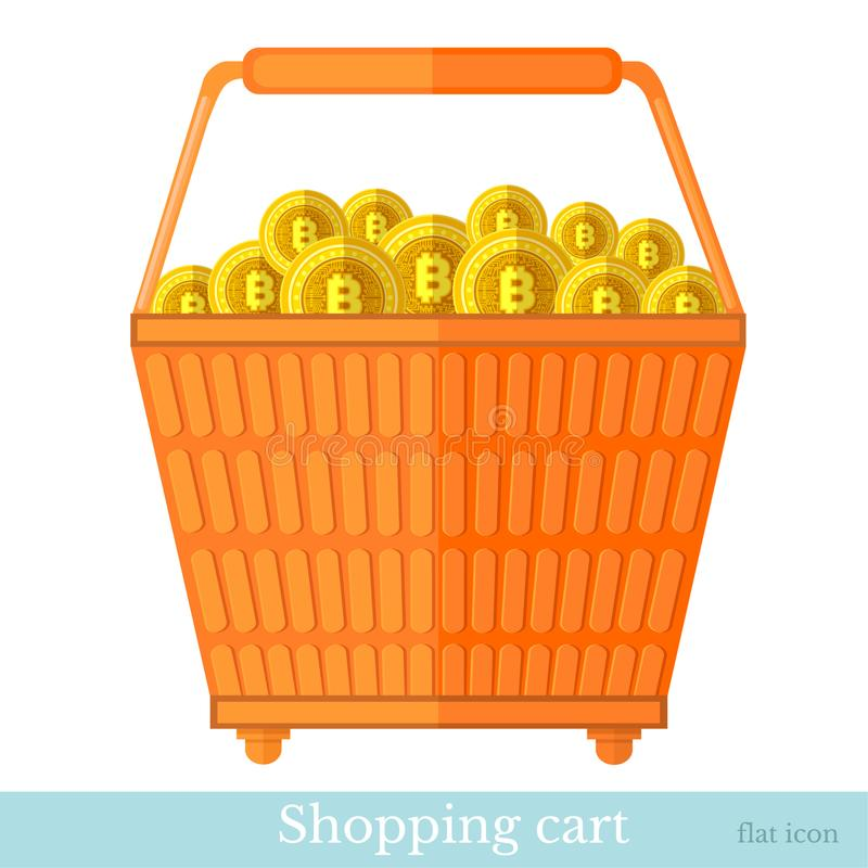 Vector shopping basket side view with gold heap of bit coins. Flat business icon online buy. On white vector illustration