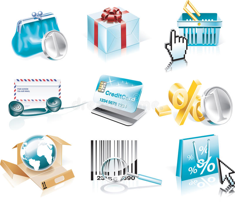 Vector shopping and Consumerism icon set. Set of shopping and business related icons