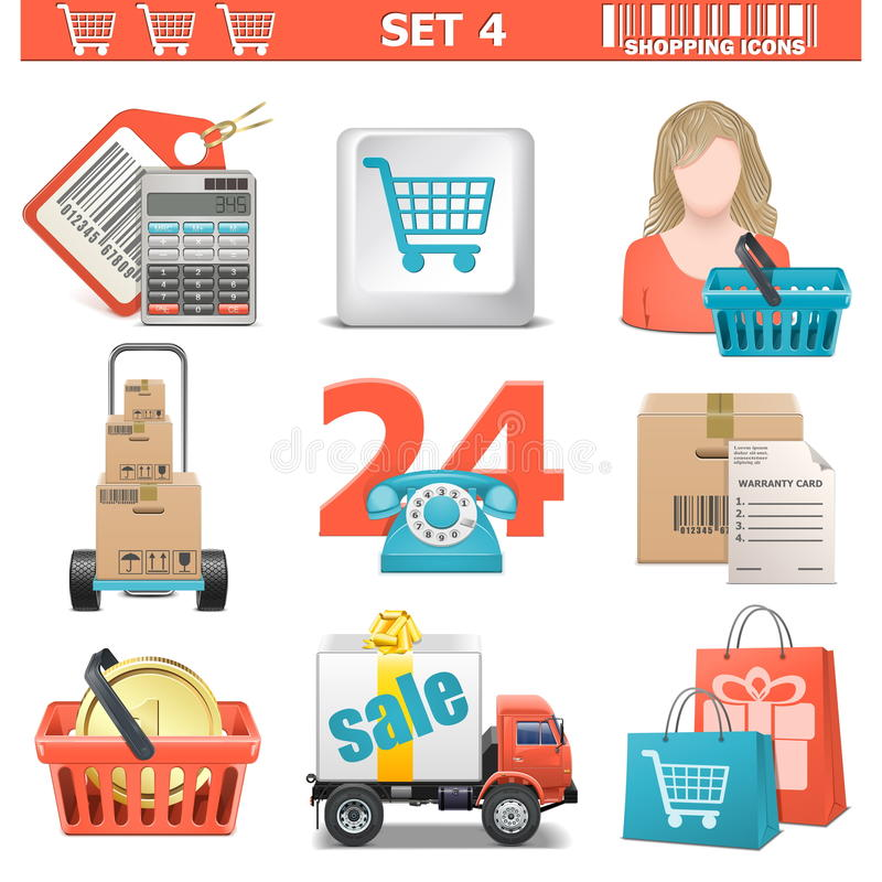 Download Vector Shopping Icons Set 4 Stock Illustration - Image: 34094705