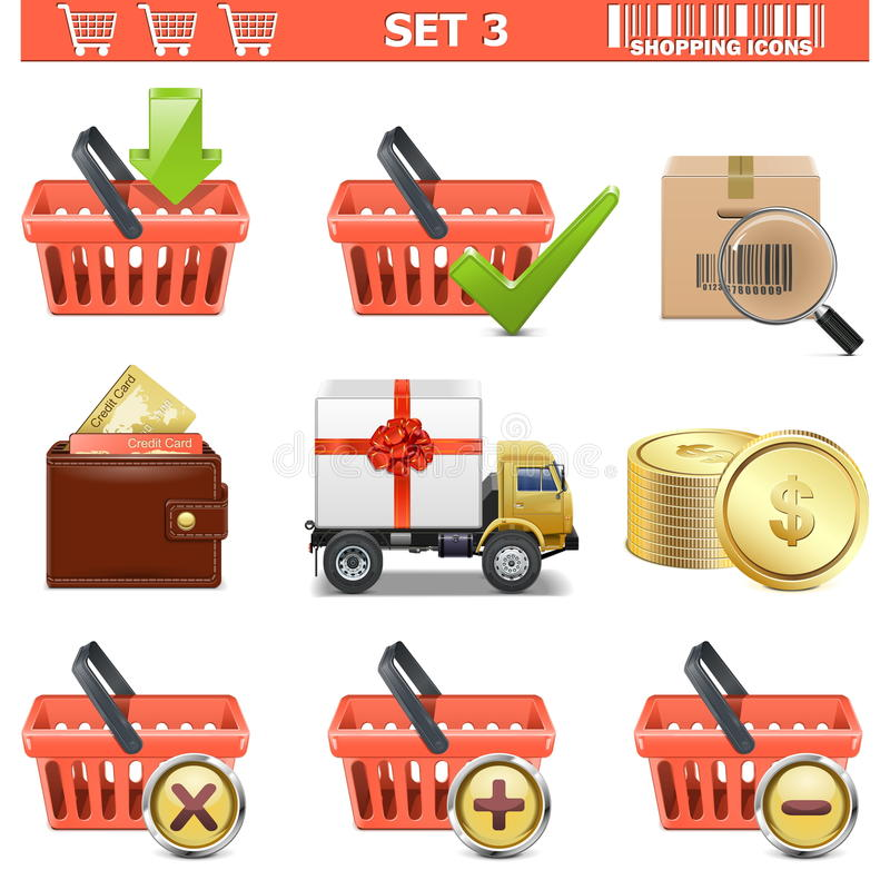 Download Vector Shopping Icons Set 3 Stock Illustration - Image: 34095102