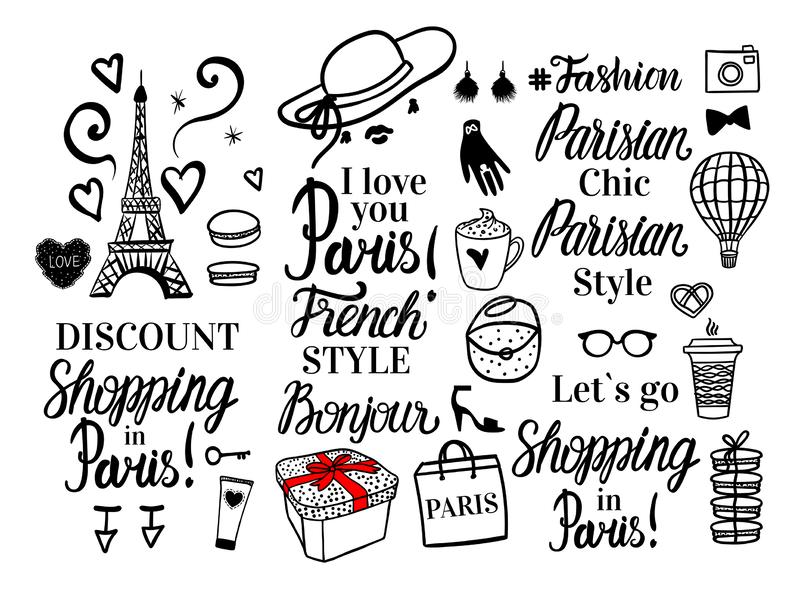 Vector Shopping in Paris collection. Set black fashion illustration and lettering inscription. Parisian Style, chic, discount. vector illustration