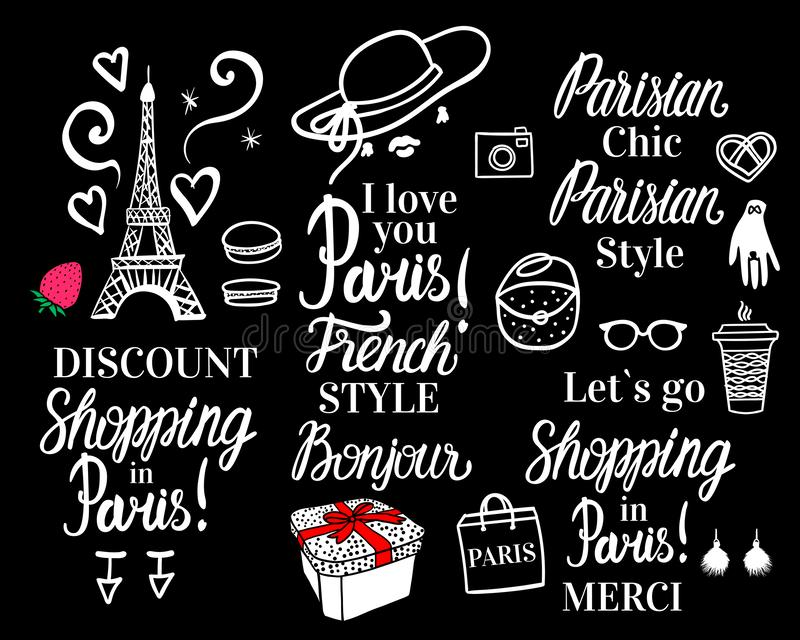 Vector Shopping in Paris night. Set white fashion illustration collection and lettering inscription on black background stock illustration