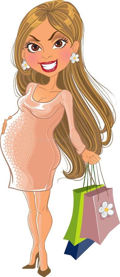 Vector Shopping pregnant woman royalty free stock photos