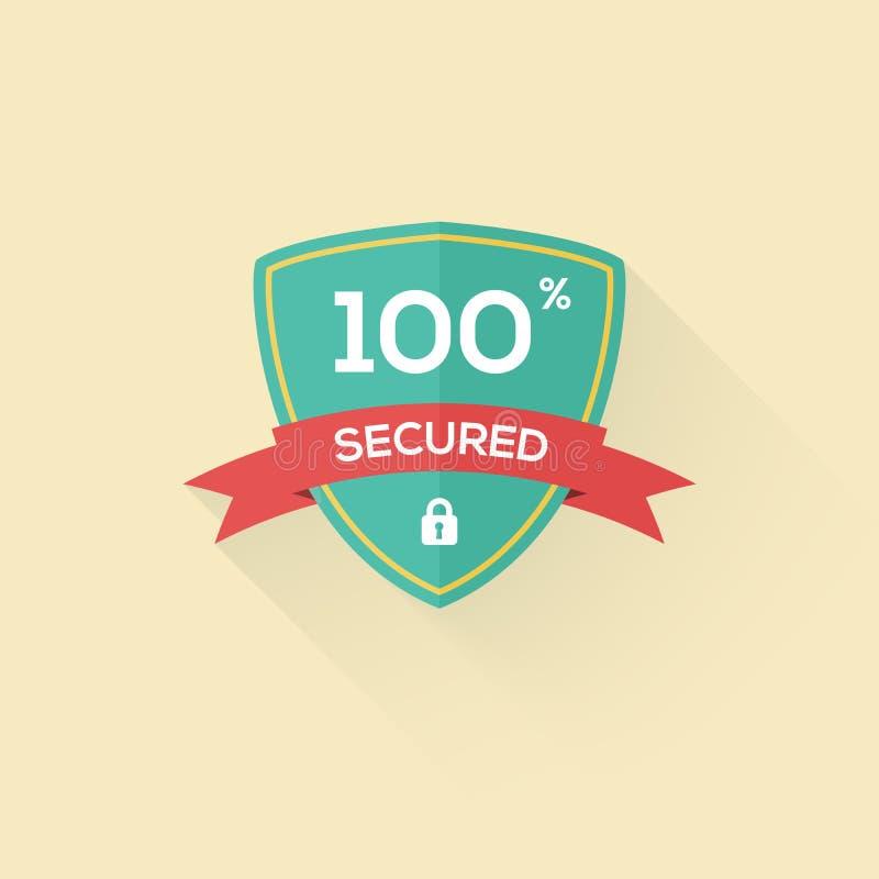 Vector Sicherheitsschild-Ikonenausweis in der flachen Art lizenzfreie abbildung