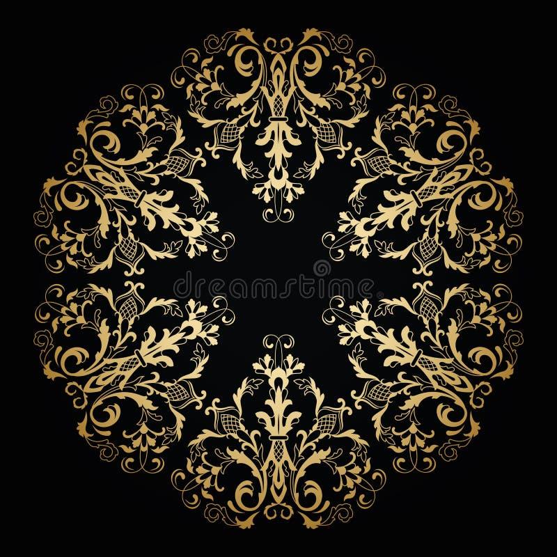 Vector sier bloemenornament Uitstekende stijl stock illustratie