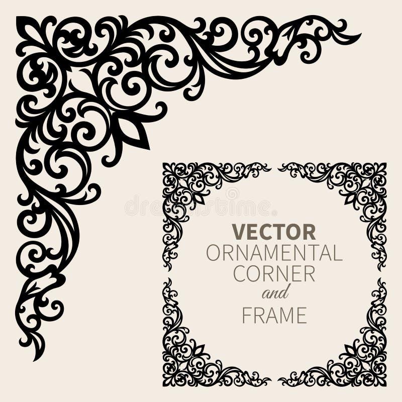 Vector sierhoekkader stock illustratie