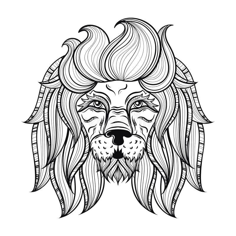 Vector sierleeuw, etnisch gevormd hoofd Hand getrokken bohemi vector illustratie