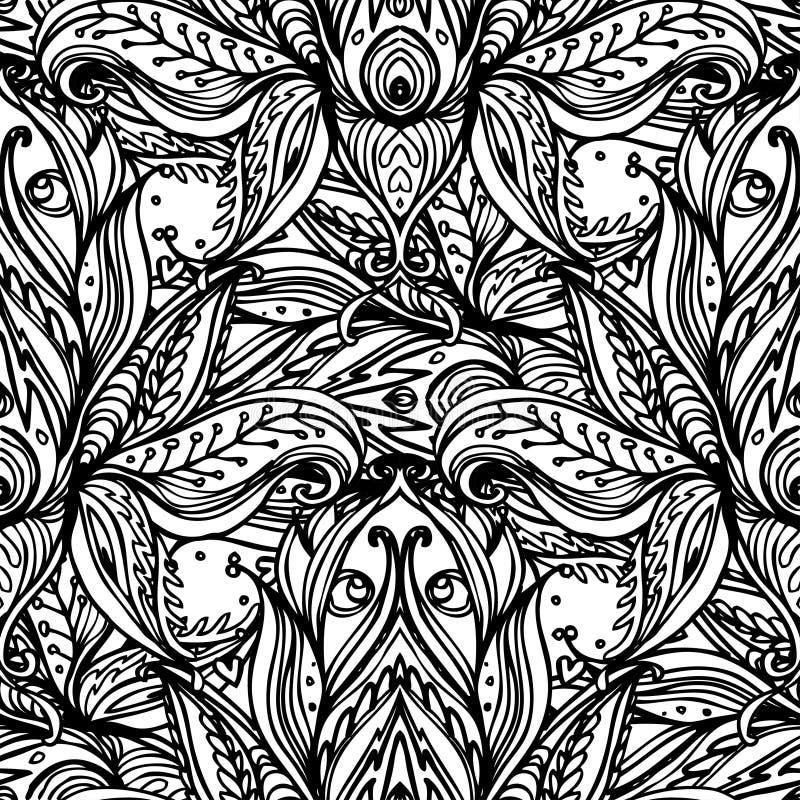 Vector sierlotus bohemian bloemen naadloos Paisley ornamen stock illustratie