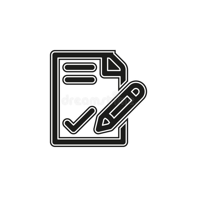 vector sign contract illustration, business agreement signature - office icon stock illustration
