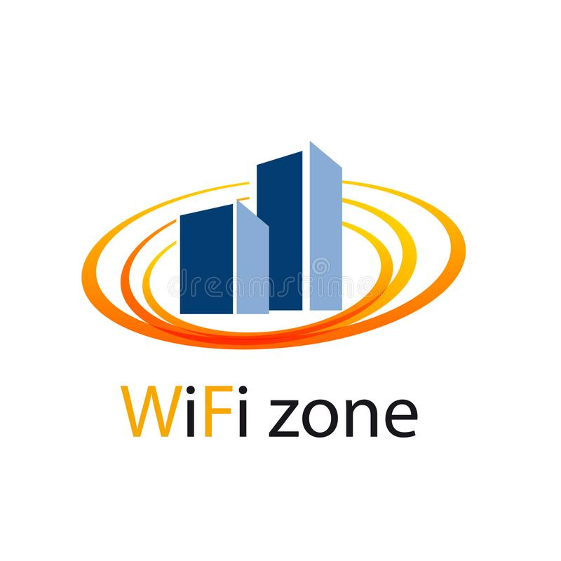 Vector sign WiFi Zone in the city. On white background stock illustration