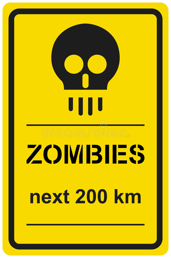 Download Vector Sign Zombies Next 200 Km Stock Vector - Image: 17598903