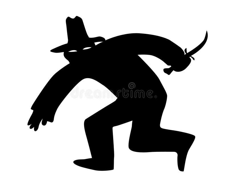 Vector silhouet van de dief royalty-vrije illustratie