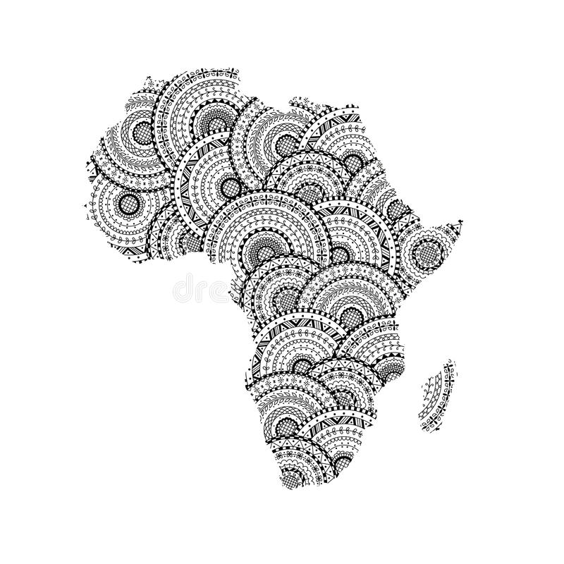 download vector silhouette of africa and madagascar map from round mandalas stock vector illustration