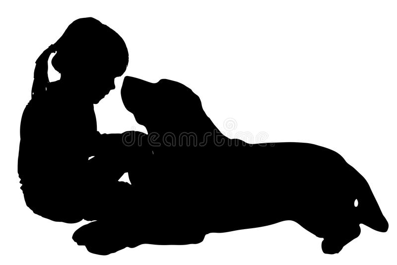 Vector silhouette of child. Vector silhouette of child with dog on a white background vector illustration