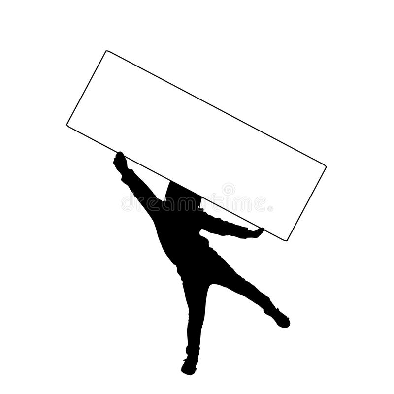 Vector silhouette of a child. Vector silhouette of a child that holding a white signs stock illustration