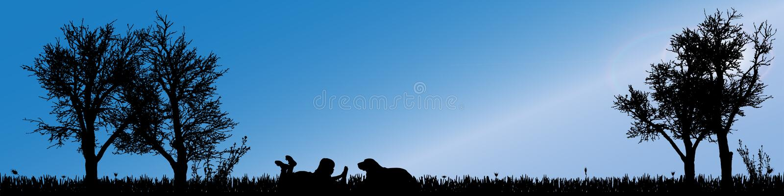 Vector silhouette of child. Vector silhouette of child in nature along the beautiful days royalty free illustration