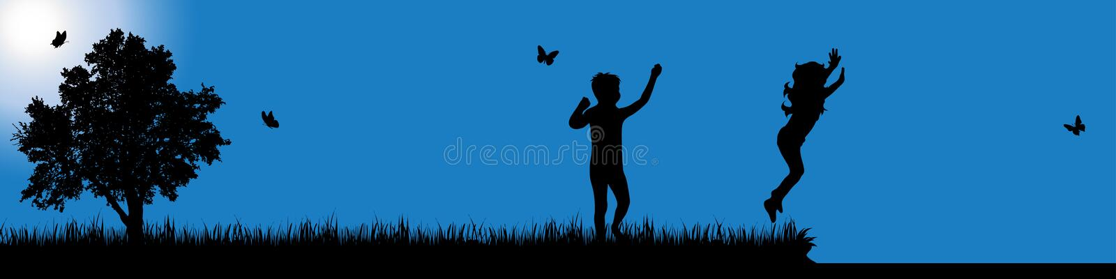Vector silhouette of child in nature at sunny day. Vector silhouette of child on white background stock illustration