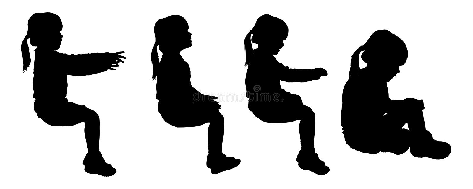 Vector silhouette of child. Vector silhouette of child on a white background royalty free illustration