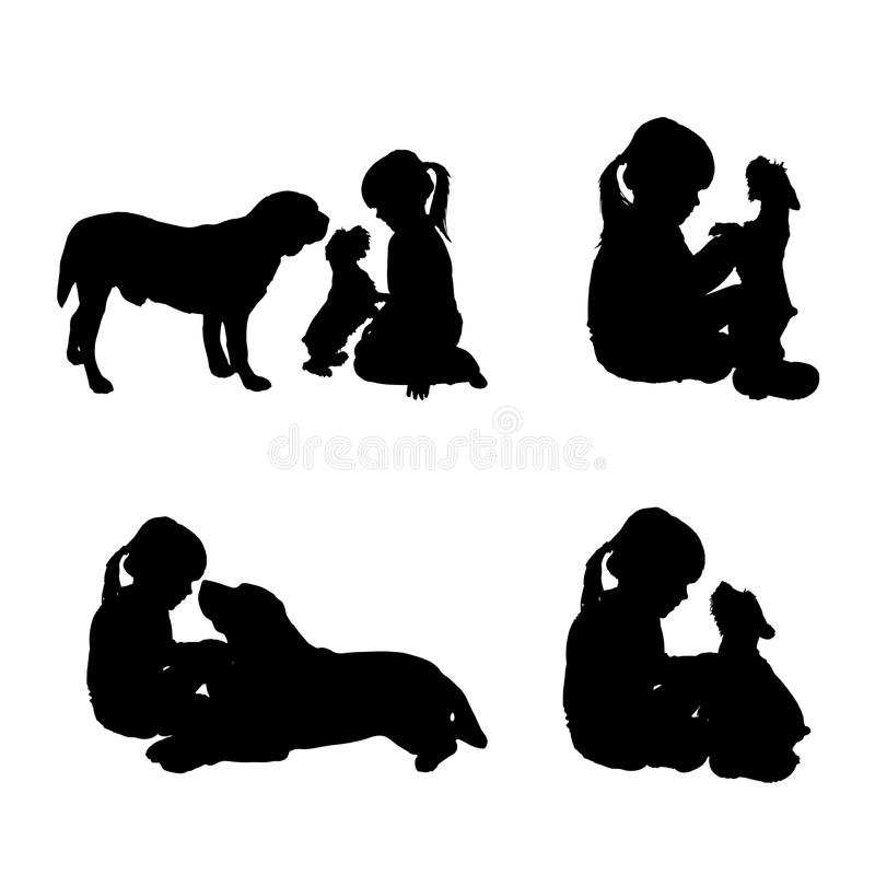 Vector silhouette of child. Vector silhouette of child on a white background stock illustration